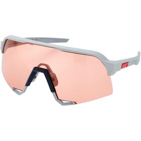 100% S3 Glasses soft tact stone grey/hiper mirror